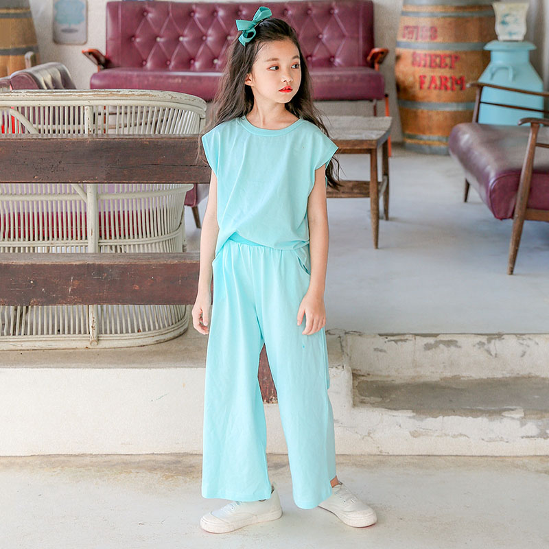 solid cotton big girls clothing sets kids t-shirt & loose pants suit baby girls set 2018 summer sports pink blue outfits clothes 2pcs children outfit clothes kids baby girl off shoulder cotton ruffled sleeve tops striped t shirt blue denim jeans sunsuit set