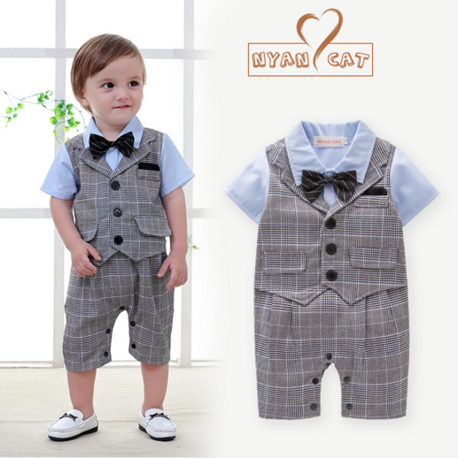 NYAN CAT Baby boy summer short sleeves romper tuxedo gentlemen bow tie infant infant toddler kids jumpsuit wedding clothes nyan cat baby boy clothes short sleeves gentleman bow tie vest romper hat 2pcs set outfit jumpsuit rompers party cotton costume