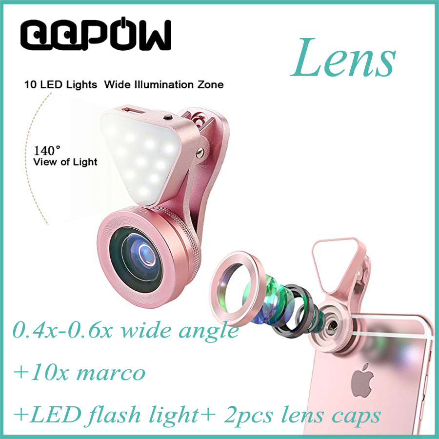 QQPOW Store QQPOW 3 in 1 0.6X Wide Angle Lens with Clip 37mm Thread 10X Macro High Definition LED Light Mobile Phone Lens for IOS Android