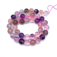 Natural Stone Beads Auralite 23 Crystal Super Seven AA Quality Pink Clear Color 8 mm 10 mm 12 mm Round Smooth DIY Jewelry Making