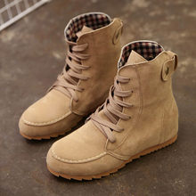 boots women shoes Flat Ankle Snow cool Motorcycle Boots Female Suede Leather Lace-Up Boot good quality botas mujer(China)