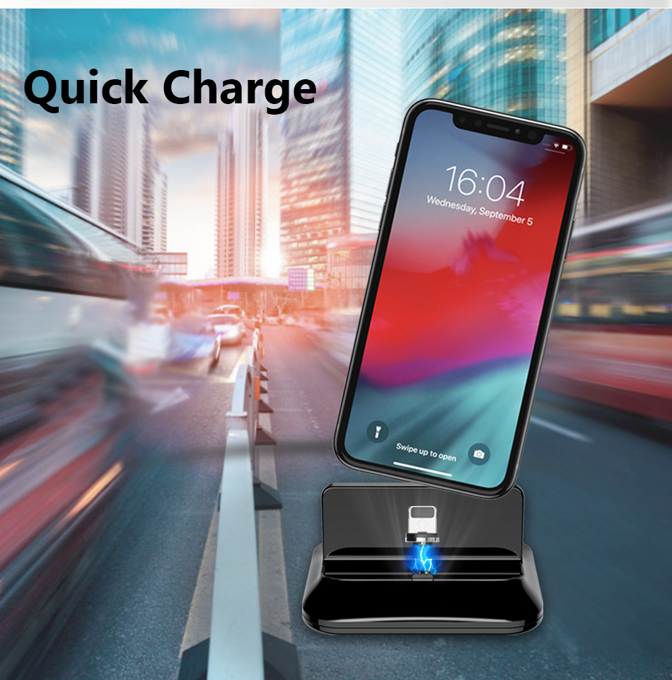 !ACCEZZ 2 in 1 Phone Stand Holder Magnetic Charger For iphone 8 X Plus Universal Type-C Micro USB 8 Pin Desktop Charge For Xiaomi (5)