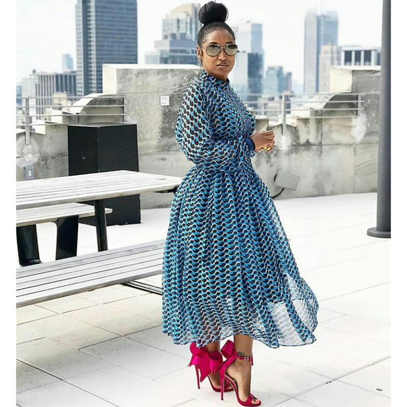 HIGH QUALITY New 2019 Designer Runway Dress Women's 3/4 Sleeve Geometric Printed Waist Hollow Out Holiday Casual Long Dress