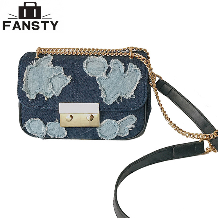 Brand Designer Denim Women Messenger Bag Small Chain Lock Retro Jeans Vintage Shoulder Patchwork Cute Cross Body Bag for Ladies