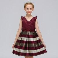 Retail tira elegante estilo occidental niños vestido con cinta cinturón moda Niñas noche vestido de fiesta l-575