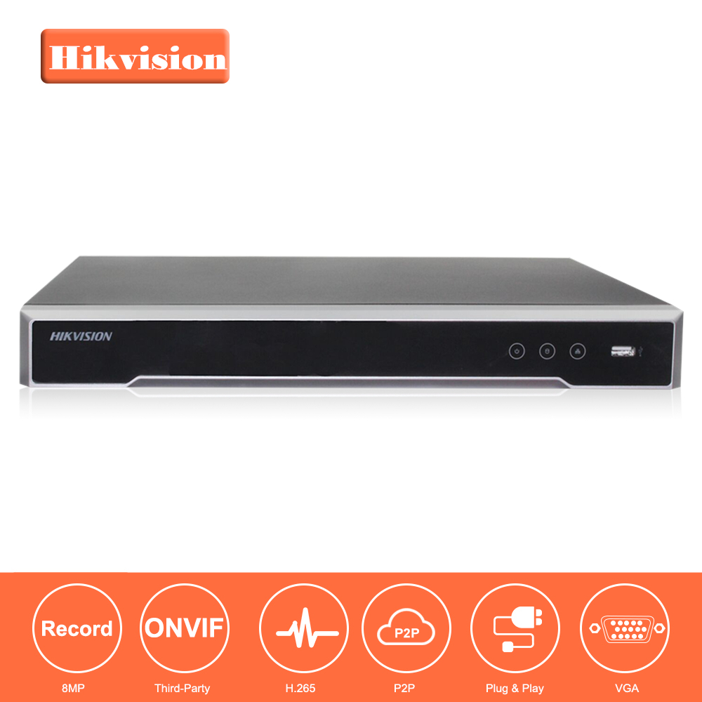 Hikvision CH CCTV System DS-7608NI-K2/8P & DS-7616NI-K2/16 Embedded Plug & Play 4K NVR with 8/16 2 SATA Interfaces 8 POE Port 4pcs hikvision ds 2cd2135fwd is h 265 ip camera replace ds 2cd2135f is hikvision nvr ds 7608ni k2 8p 8ch 8 ports poe 4k h 265