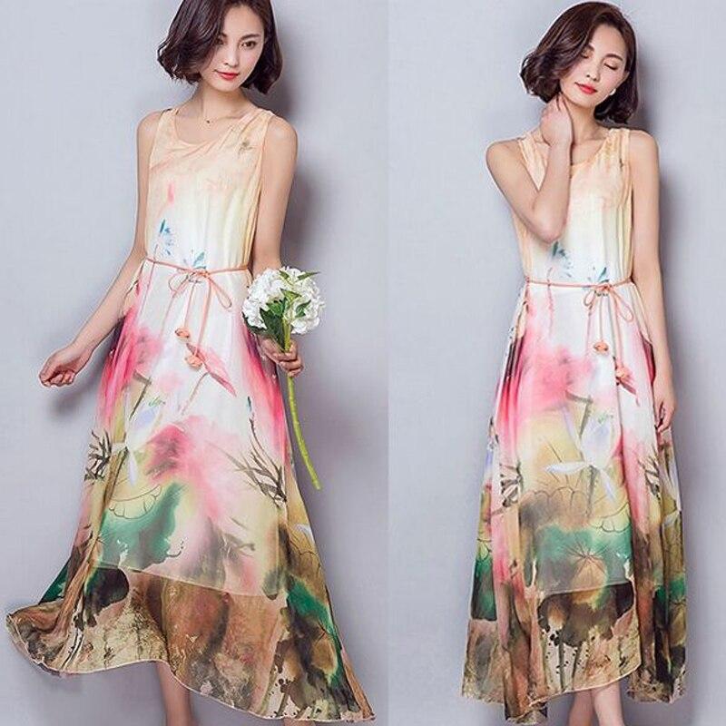 Платье шелковое без рукавов