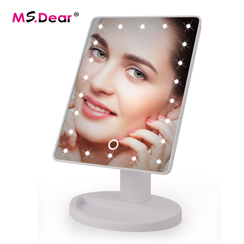 LED Touch Screen Makeup Mirror Professional Vanity Mirror With 16 LED Lights Health Beauty Adjustable Countertop 22 Led Rotating декор lord vanity quinta mirabilia grigio 20x56