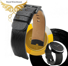 22mm Black Genuine Leather Watch Band Strap Band For Motorola Moto 360 Tool