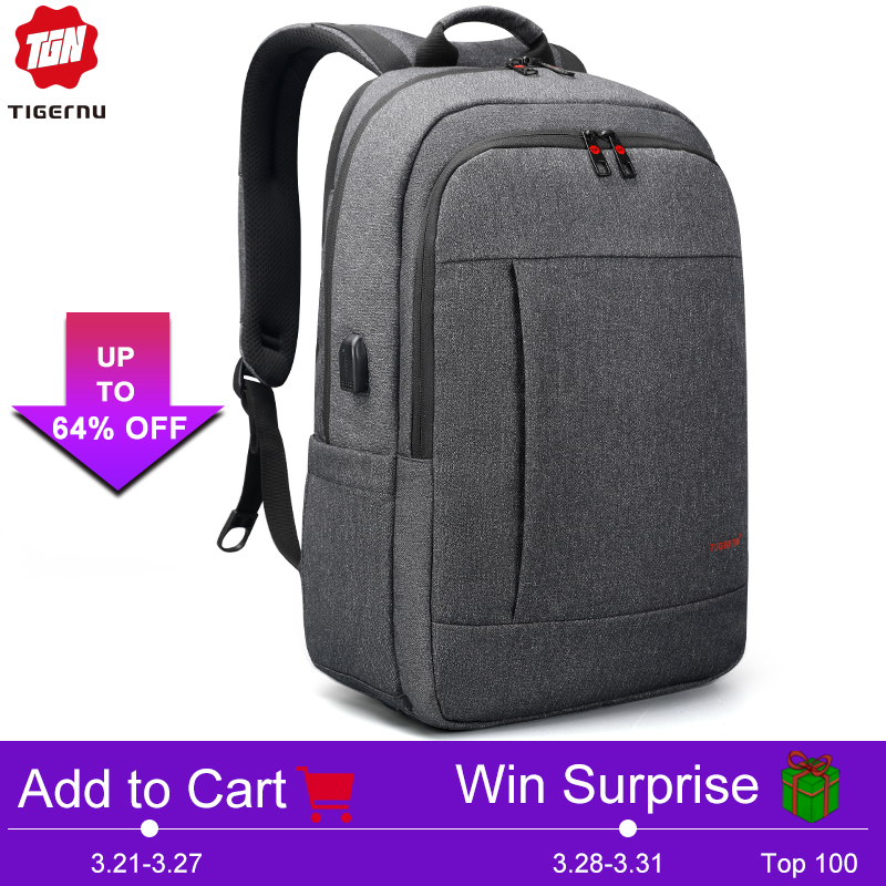 Tigernu Анти-вор USB зарядки 15.6 -17 дюймов ноутбук рюкзак для женщины Мужчины школьный рюкзак Сумка Mochila портфель школьный мужской рюкзак
