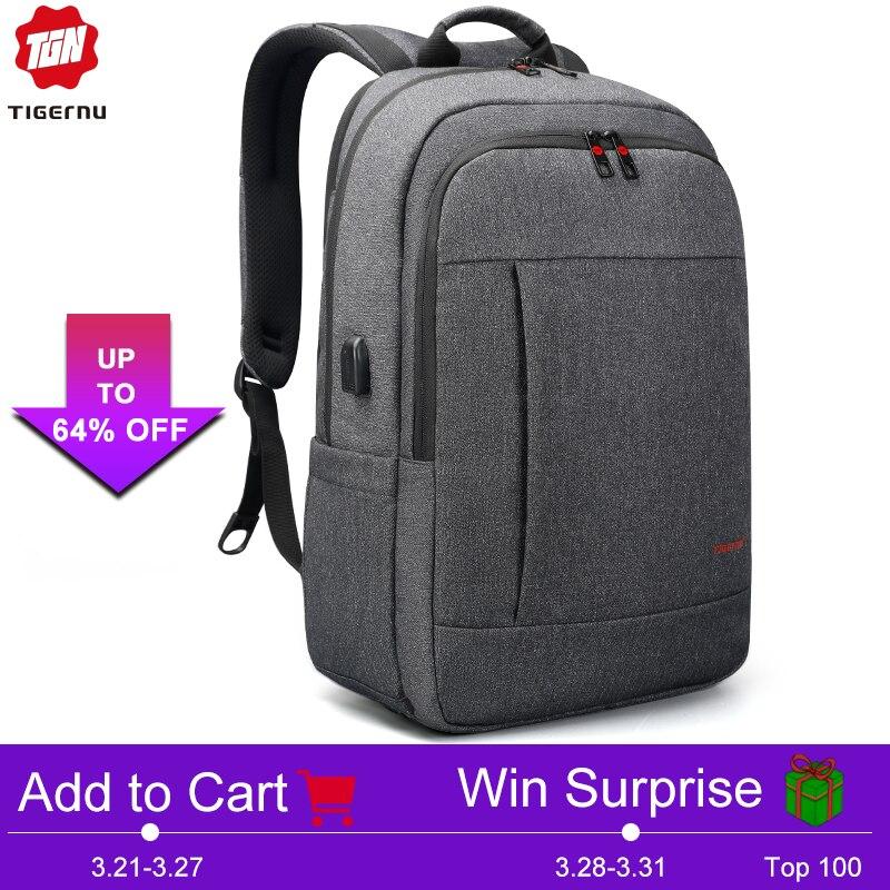 Tigernu Anti voleur USB bagpack 15.6 à 17 pouces sac à dos pour ordinateur portable pour Femmes Hommes cartable pour Femme Homme Voyage Mochila feminina