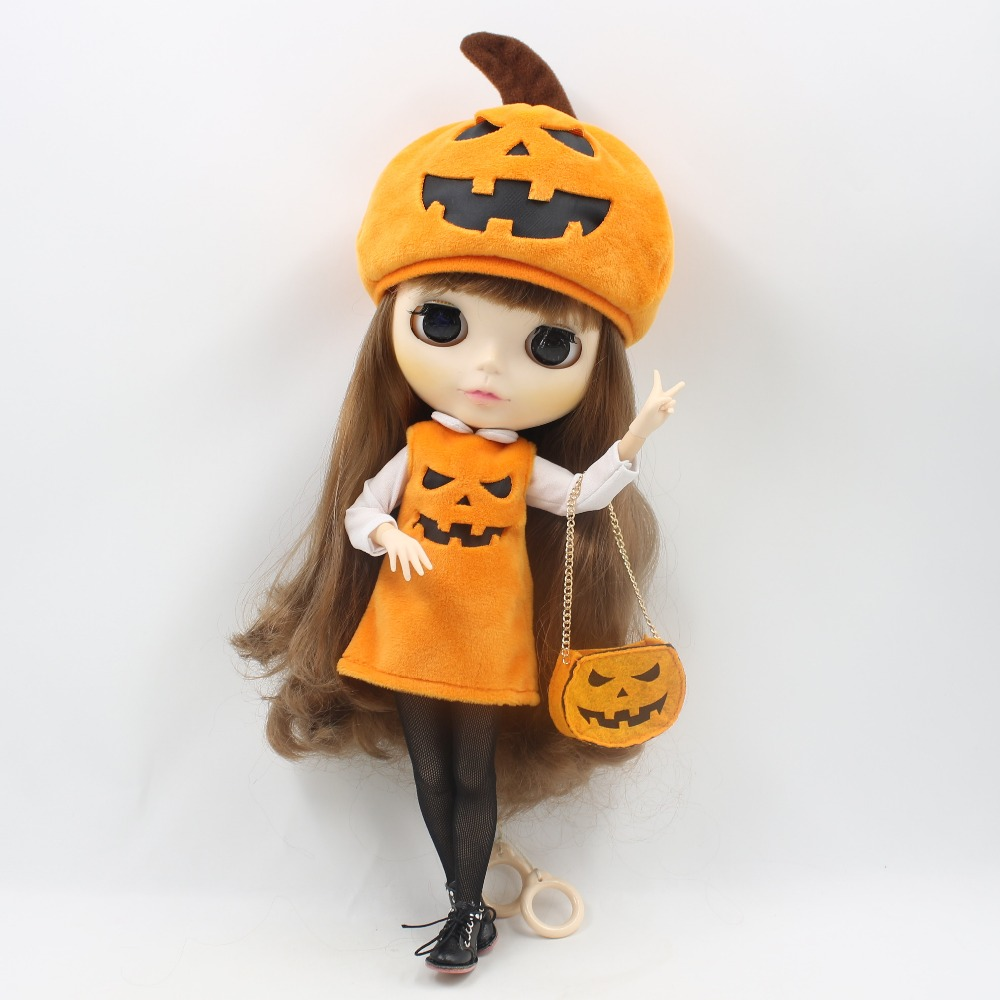 free shipping for blyth doll icy licca body happy halloween pumpkin hat orange bag devil ghost dress stocking clothes цена 2017