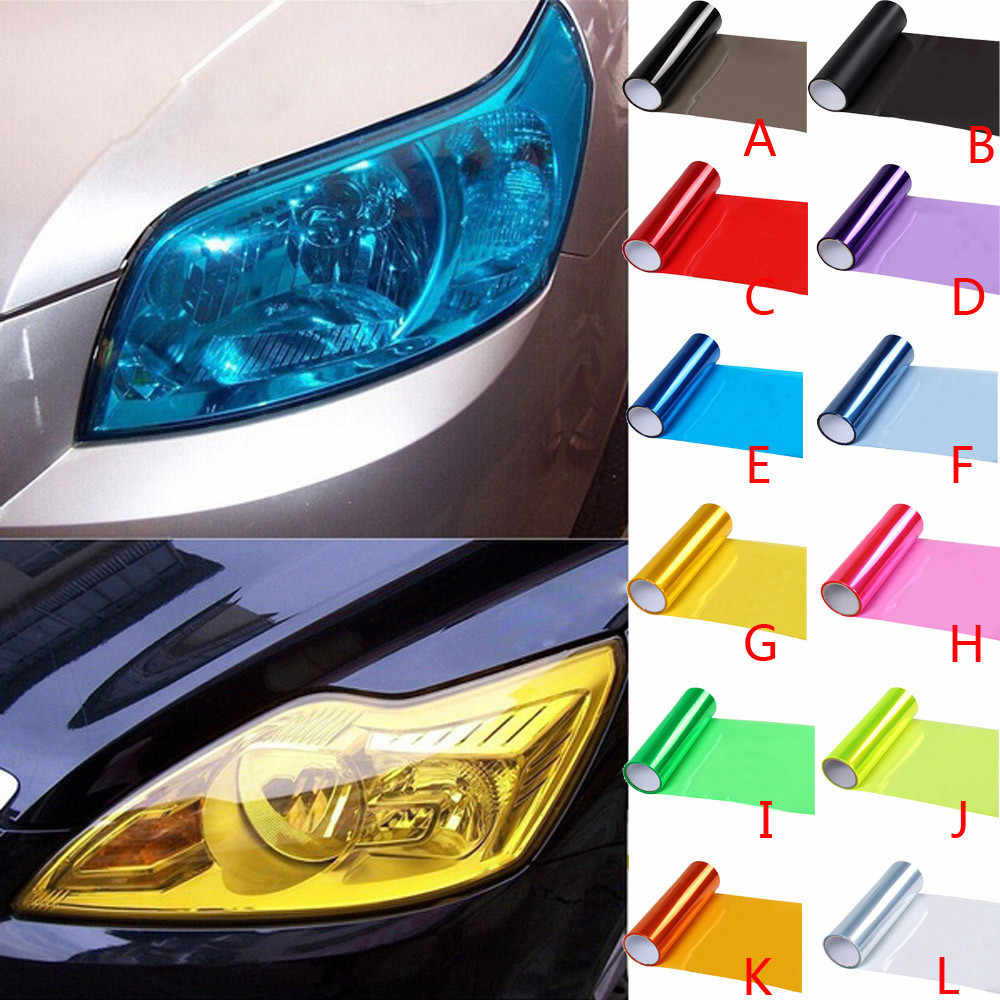 Vinyl Film Lembar Stiker Mobil Otomatis Lampu Kabut Asap Lampu Belakang Warna Autocollant De Voiture Araba Aksesuar Pegatinas Coche