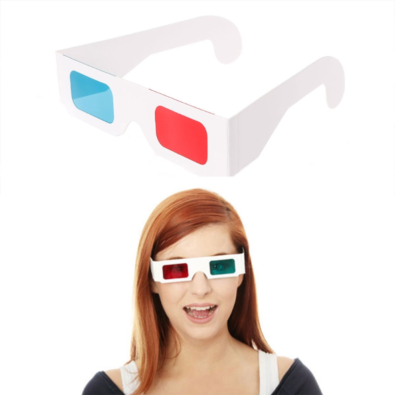 peacefair 10Pcs Universal Paper Frame Red/Blue Cyan View Anaglyph 3D Glasses For Movie DVD TV