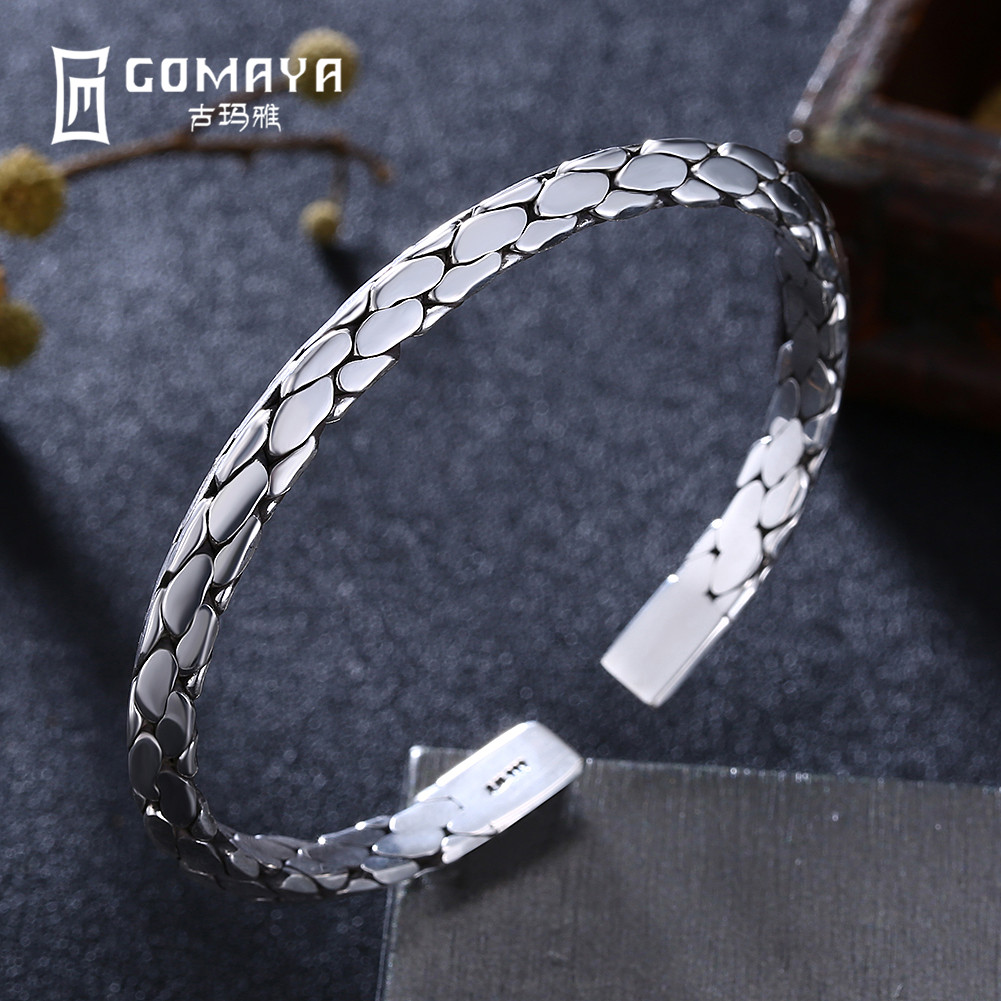 GOMAYA Authentic 999 Sterling Silver Pattern Bangles for Women Engagement Bracelets High Quality Fine Jewelry Gift drop shipping high quality natural green dongling jades bangles bracelets round bangles gift for fashion elegant women jewelry