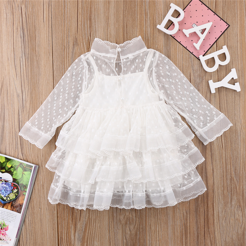 1-5Y Cute Kids White Lace Dress For Girls New Year Costumes For Girls Baby Girl Gown Dresses Tutu Dress Tulle 2018 Hole Vestidos