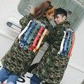 Coreano Homens Mulheres Casais Combinando Casaco Parkas Dos Homens Tarja Projeto Longo de Algodão Acolchoado Casaco Grosso Jaquetas de Camuflagem