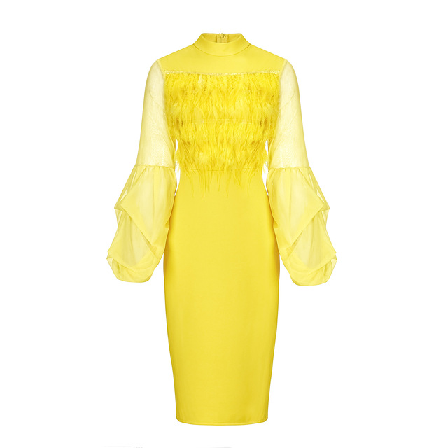 Yellow knee length bodycon dress with sleeves