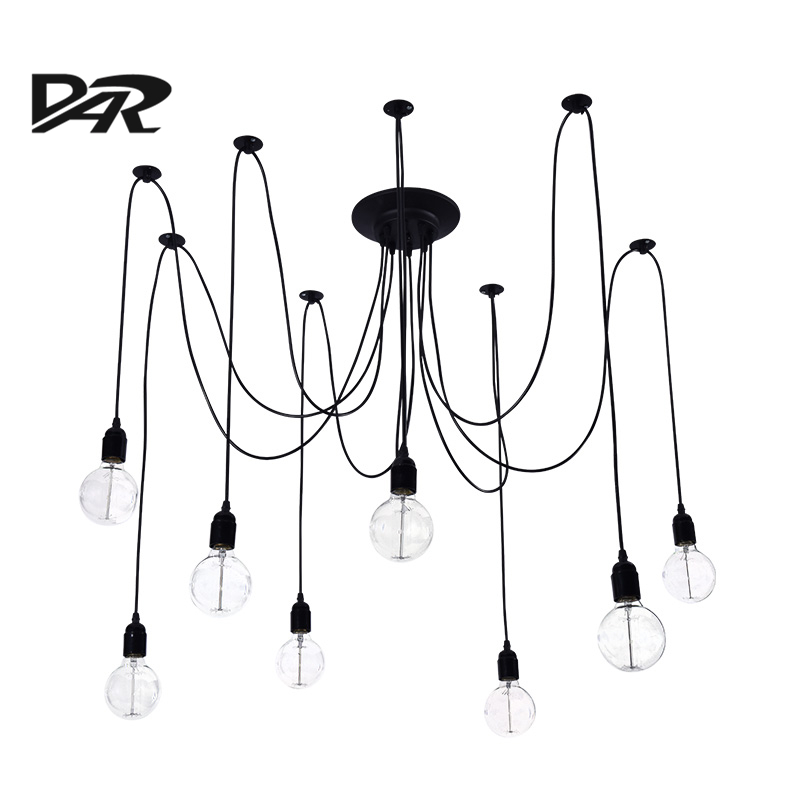 DIY Loft Deco Vintage Nordic Spider Pendant Lamp Multiple Adjustable Retro Pendant Lights E27 Home Lighting Fixture Lampenkappen vintage multiple adjustable wire diy ceiling spider pendant lighting 12 14 heads with e27 lamp holder for home bar hotel