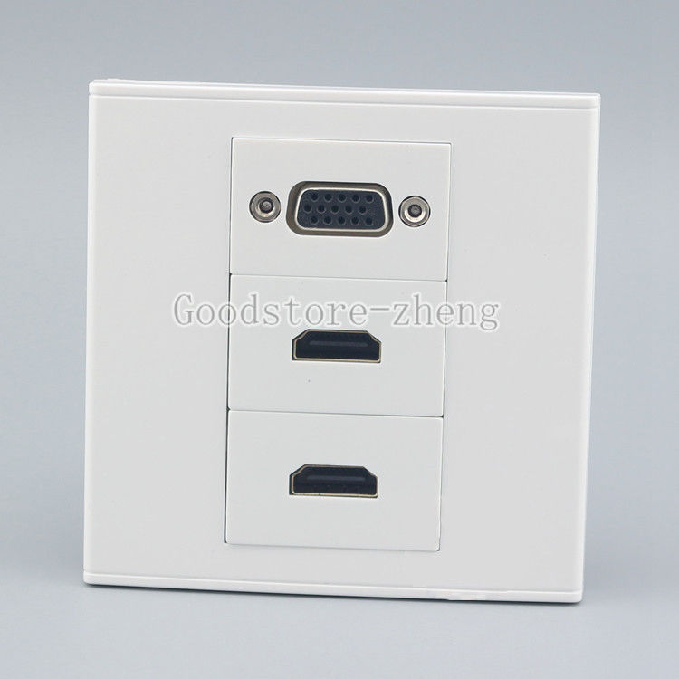 Wall Face Plate VGA Outlet + Dual HDMI Socket Media Assorted Panel Faceplate