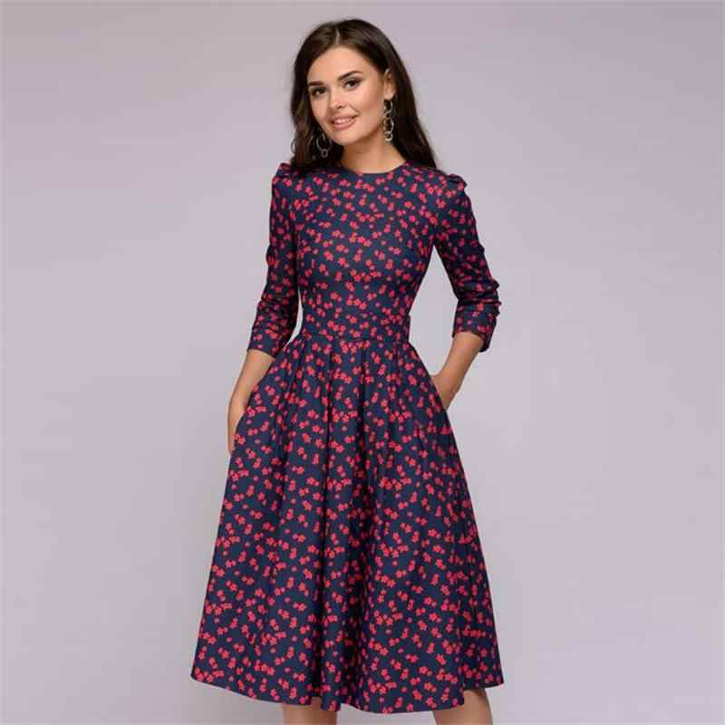 New 2018 Women Elegent A-line Dress Classic Vintage Printing Party Vestidos Seven Quarter Sleeves Women Autumn Dress
