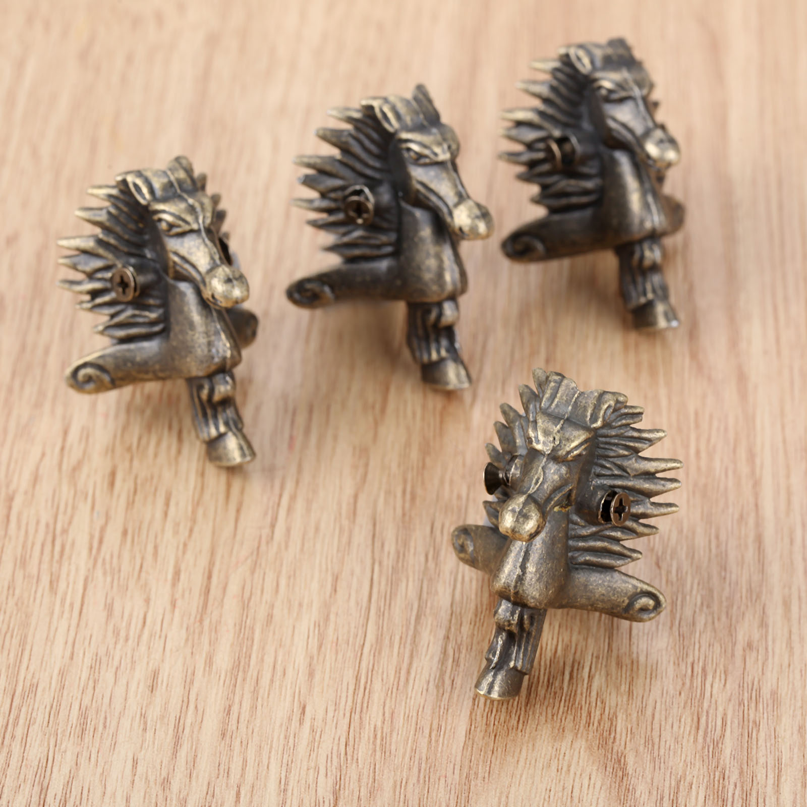4Pcs Antique Bronze Horse Head Jewelry Gift Box Wood Case Decorative Feet Leg Corner Protector 39*24mm