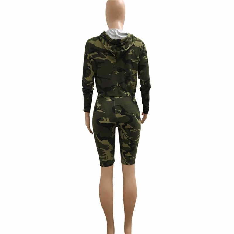 Женский костюм из двух предметов, одежда с капюшоном, укороченный топ и шорты, спортивные костюмы, пуловер с длинными рукавами и камуфляжным принтом, топы, повседневный спортивный костюм из 2 предметов
