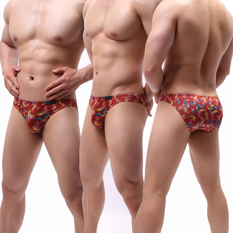 2019 Brand High Quality Men Sexy Underwear Sexy Briefs Milk Silk Ginkgo Leaf Printed Bulge Pouch Underpants Gay Panties