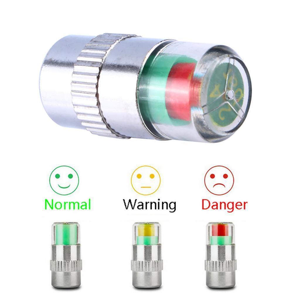 BEST 2/4PCS 2.4 Bar 36PSI Car Tire Pressure Monitor Valve Cap Sensor Indicator 3 Color Eye Alert Monitoring Tire Pressure R20