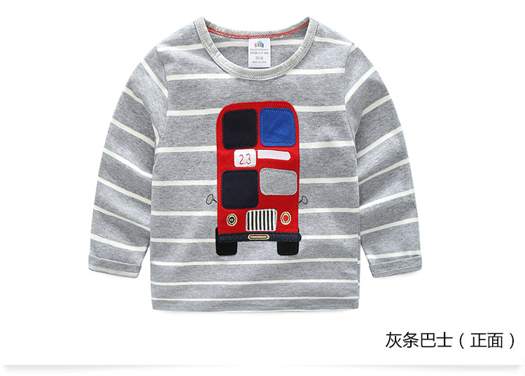 2018 Spring Autumn For 2-9 10 Years Children Cotton Striped Patchwork Cartoon Car Bus Truck Baby Kids Boys Long Sleeve T Shirts (22)