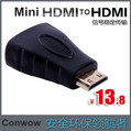 Mini HDMI to HDMI A connector adapter, HDMI A type female to Mini HDMI C type male adapter for cell phone to TV+free shipping