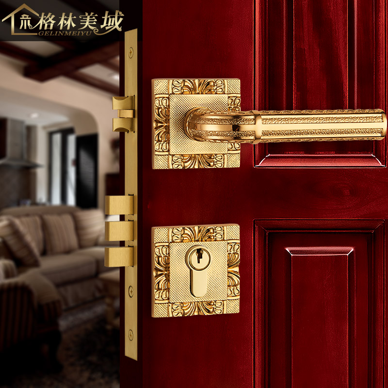 European - style copper door lock split lock Chinese full copper room door lock interior bedroom solid wood door lock ceramic lock the door when indoor european ball lock hold hand lock copper core ss