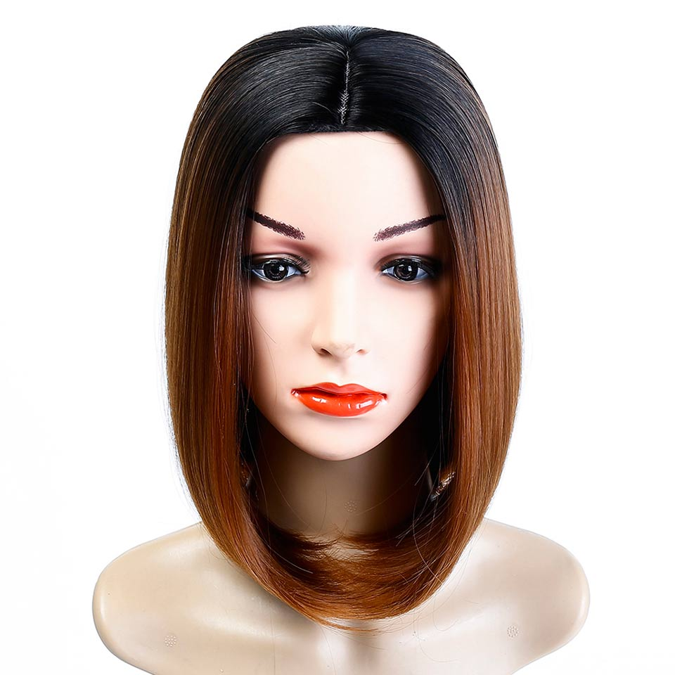 JINKAILI Soft Silk Synthetic Dark Roots Short Bob Wig Shoulder Length Ombre Color Womens Wigs with Free Wig Cap