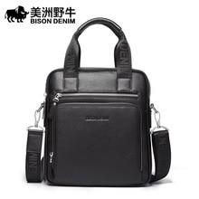 BISON DENIM Brand Men Messenger Bag Genuine Leather Handbag Business Casual Crossbody Bag Men's Shoulder Bags Free Shipping