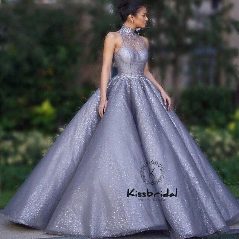 Abiye gece elbisesi luxe robes de soirée longue sans manches robe de bal perlée licou robe de bal pour les femmes