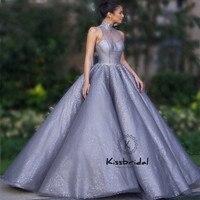 abiye gece elbisesi Luxury Evening Dresses Long Sleeveless Ball Gown Beaded Halter Prom Party Dress For Women