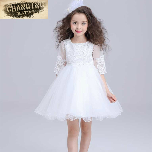 3-8 years old Kids Girls Birthday Party Wedding Princess Dress For Girls  Clothes Lace Flowers Children Bridesmaid Elegant Dress 9e398519bd56