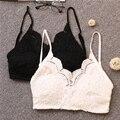 2016 Nova Sexy Lace Flor Gancho Pequeno Vest Straps Bottoming Shirt Com Decote Em V Bra Parágrafo Curto Com Decote Em V Sem Encosto Topo Colheita