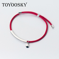 2017 925 Sterling Silver Simple Handcuffs Bracelet Red Rope Chain Bracelets Adjustable Charm For Girls Woman