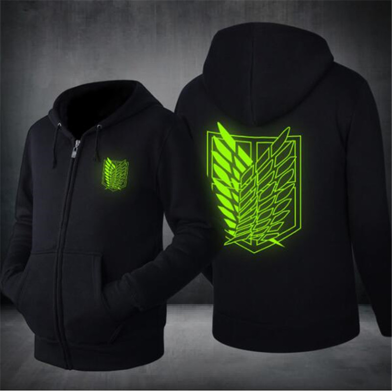 Free shipping 2017 New Mens Hoodie Autumn Winter Attack On Titan Japanese Animation Zipper Jacket