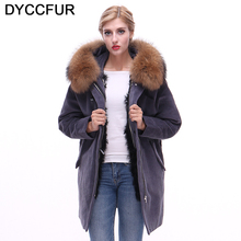 DYCCFUR 2017 new parka real fur coat winter jacket women natural raccoon fur collar warm thick lamb fur liner parkas Detachable