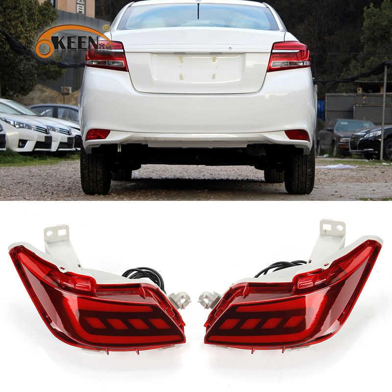 Okeen 2pcs Car Led Rear Bumper Reflector Light For Toyota Vios 2017 2018 Driving Braking Tail Light Warning Fog Lamp Car Light Assembly Aliexpress