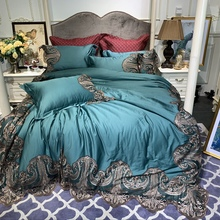New Green Pink Blue Champagne Luxury 100S Egyptian Cotton Palace Bedding Set Lace Duvet Cover Bed Linen sheet Pillowcases