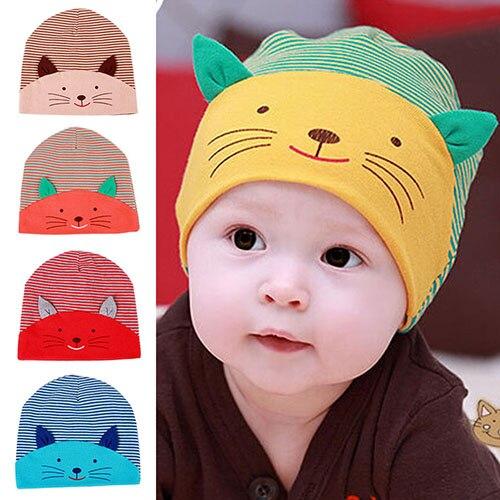 2e17db2a747 Милый 3D кошка в полоску для маленьких мальчиков и девочек мягкая теплая  шапка Кепки хлопка шапочки 7esx