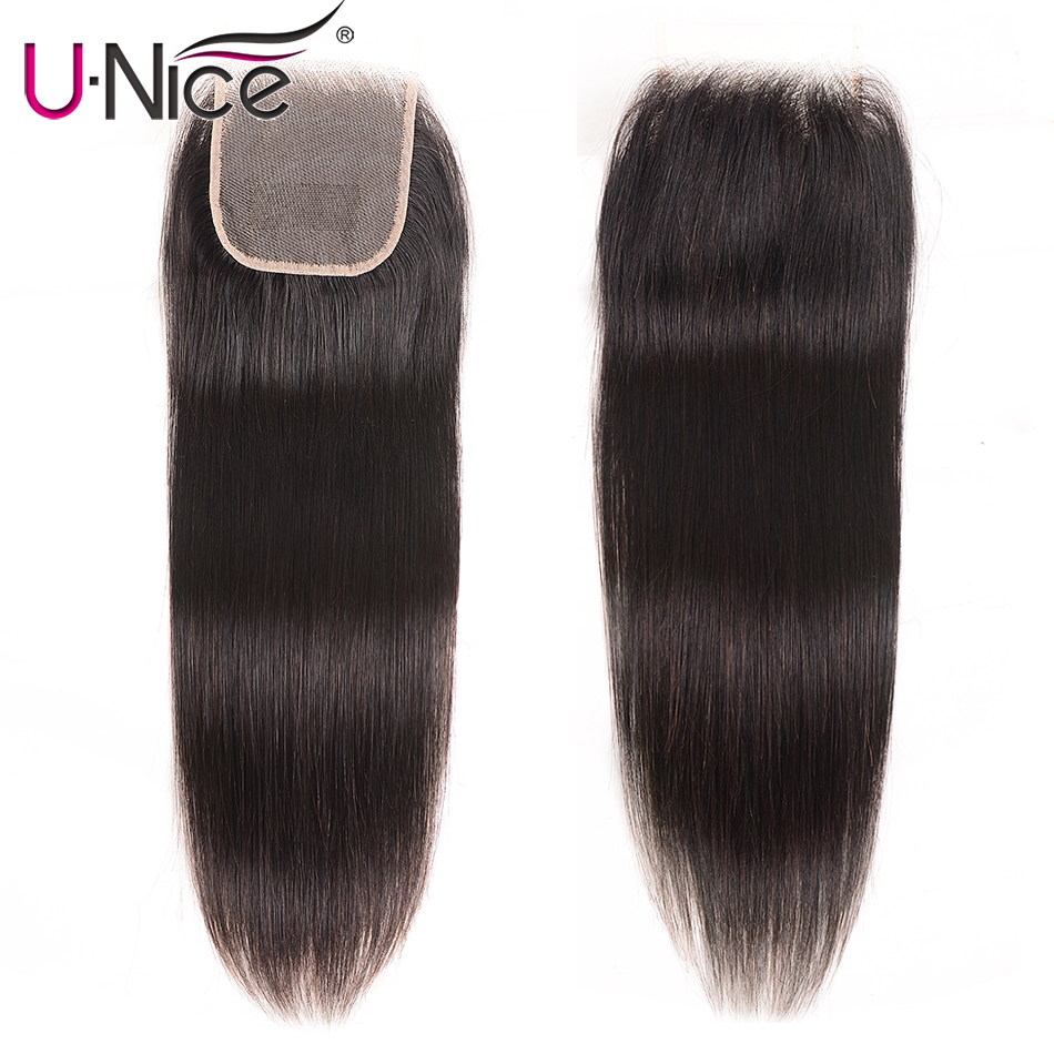 Unice Hair 4X4 Lace Closure Brazilian Straight hair Pre Plucked Closure Transparent Lace Remy Human Natural