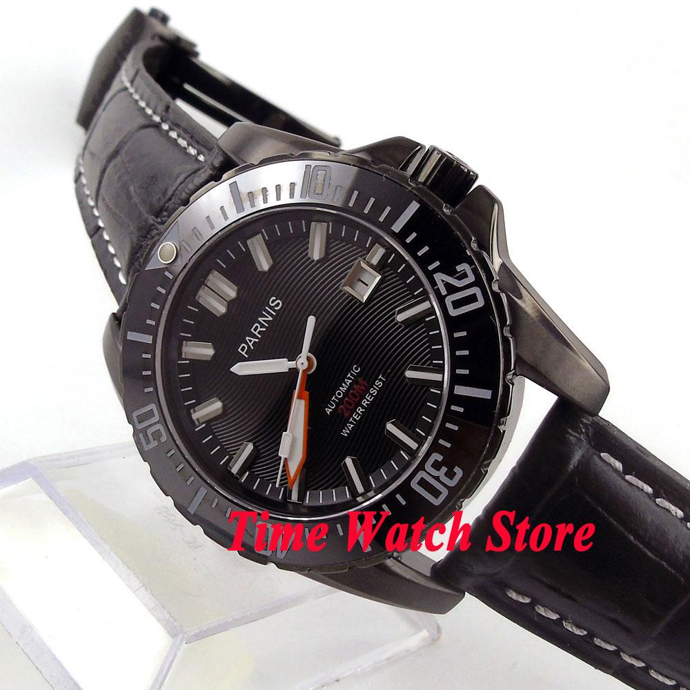 Parnis 43mm Black dial luminous Sapphire glass PVD case Ceramic Bezel Diver Automatic movement Men's watch 681 цена и фото