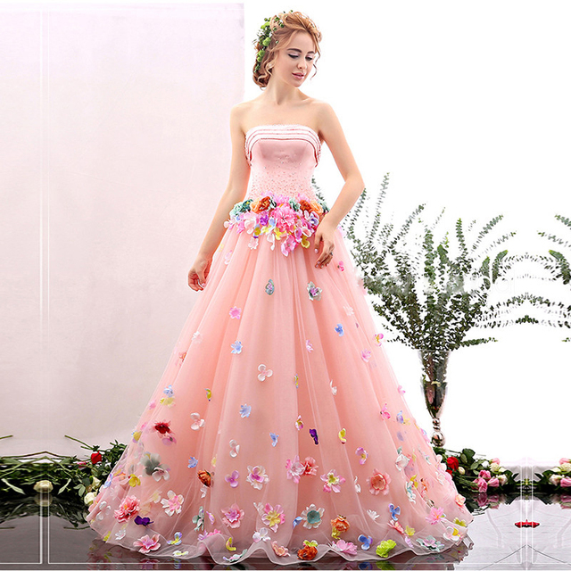 c9401a3e28b7b Romantic Flower Fairy Blush Pink Strapless Wedding Dress 2017 Colour Rose A  Line Beaded Lace Up Dress for beautiful young bride