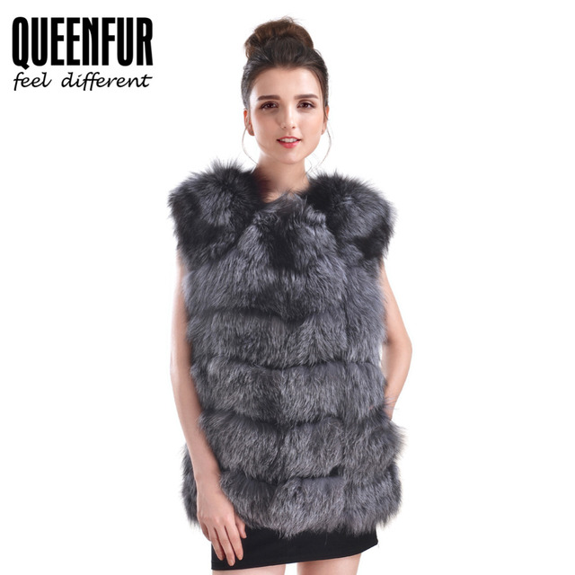 Real  Fox Fur Vest For Women Genuine Leather Fur Waistcoat 2016 New Winter Warm Whole Skin Natural Fox Fur Sleeveless Coat