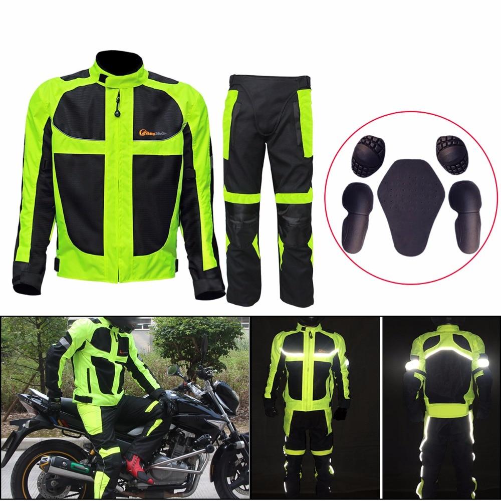 ФОТО  Riding Tribe Breathable Summer Motorcycle Protective Jacket + Hip Protector Pants Kits Motorcycle Racing Suits Jacket pants C/5