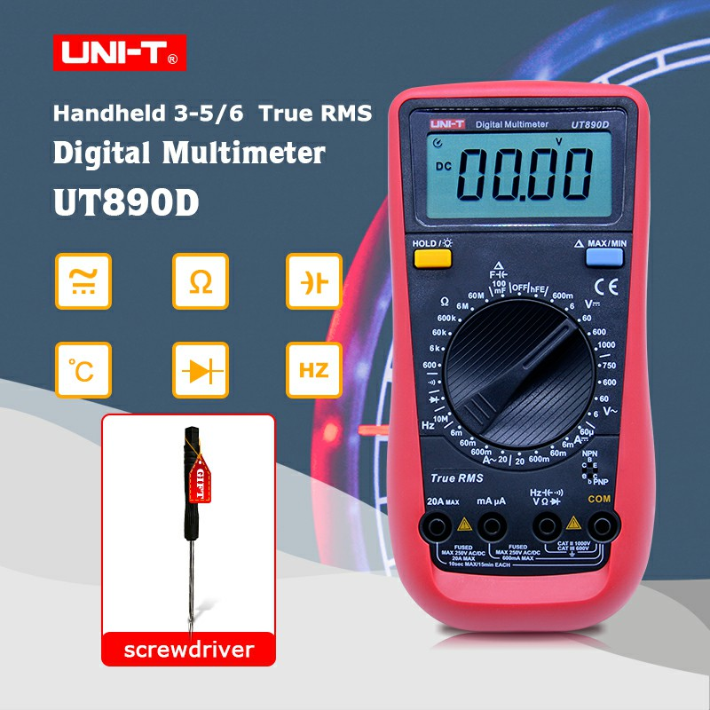 UNI-T UT890D Multimetro Digitale a Vero RMS AC/DC frequenza multimetro Amperometro Multitester + Regalo